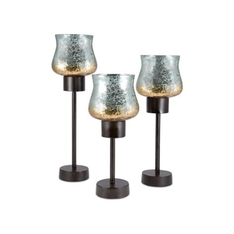 Set Of 3 Glass Candle Holders Mercury Glass Rustic Candle Holders Set Of 3