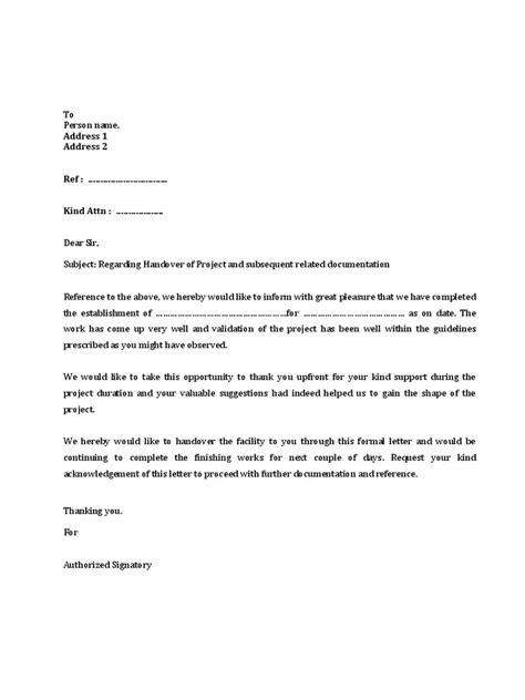 Customer Handover Letter 131212 Project Handover Letter Draft