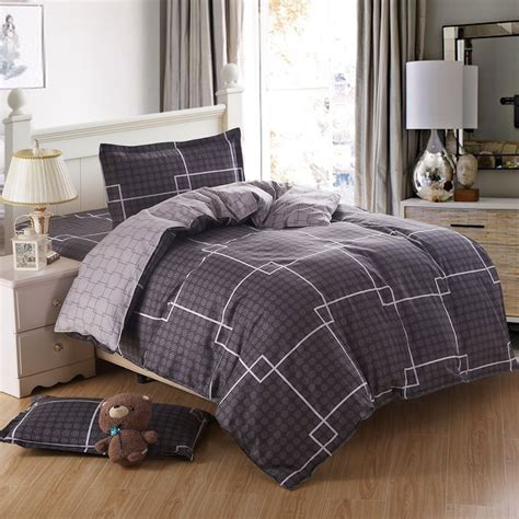 mens comforter set mens bed set blue plaid king size cotton bedding sets