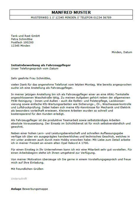 Anschreiben Fã R Bewerbung Bewerbung Fahrzeugpfleger Ungek 252 Ndigt Berufserfahrung Sofort