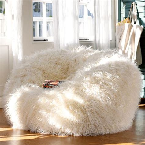 big white fluffy bean bag and cozy beanbags