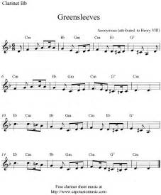 Greensleeves free clarinet sheet music notes
