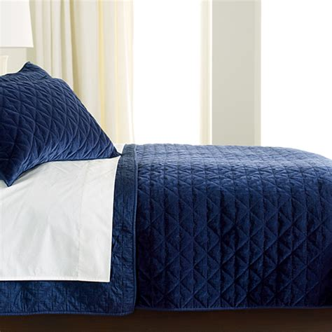 Velvet Quilts And Coverlets Gresham Navy Velvet Coverlet And Shams Quilts Comforters