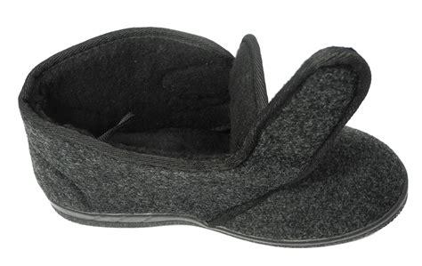 fleece lined mens slippers mens sturdy thick felt fleece lined velcro boots bootie