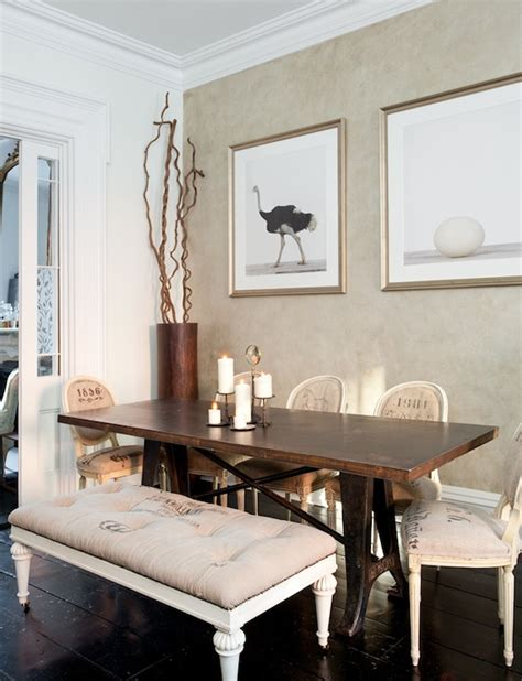 the dining room brooklyn french vintage grain sack bench eclectic dining room