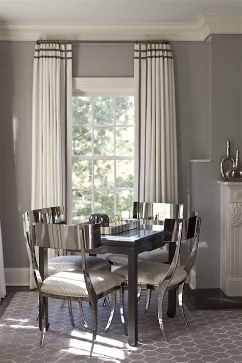 Curtains For Dining Room Ideas A Rich Style Of Dining Room In Silver Decor And The Colour Of The Walls And The Curtains