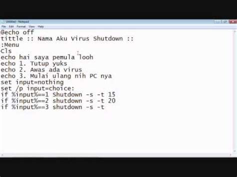 membuat virus pc tutorial cara membuat virus bat agar pc shutdown youtube