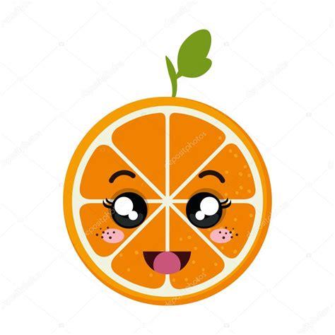 imagenes de frutas kawaii dibujos animados de naranja kawaii vector de stock