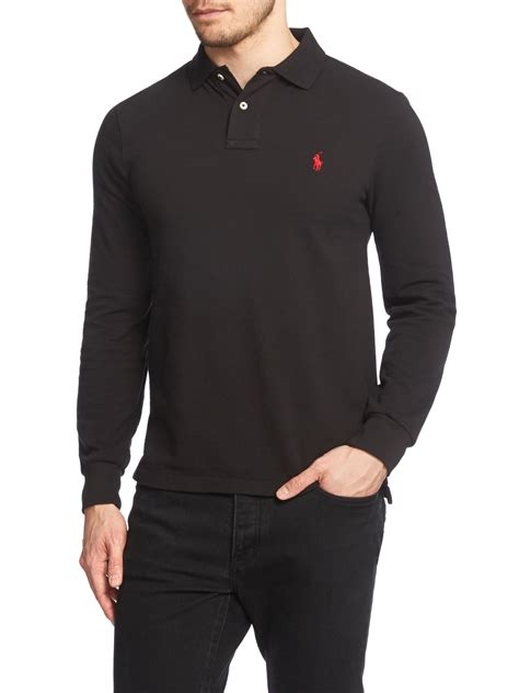 Polo Longsleeves Shirt lyst polo ralph plain polo shirt sleeve slim fit in black for