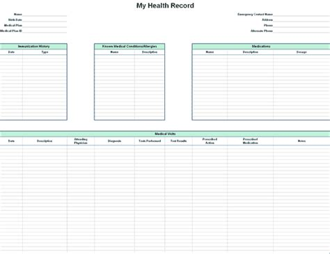 health record template personal health record for microsoft personal access