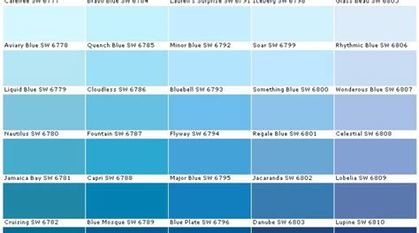 colors of blue shades of blue paint shades blue paint chart major shades