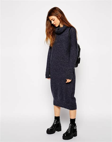 Midi Jumper Dress lyst asos oversized midi jumper dress with roll neck in blue