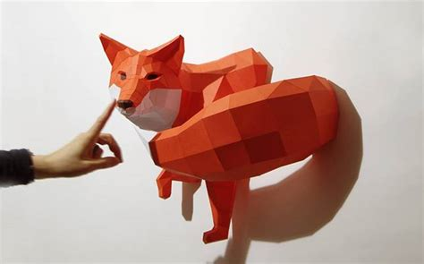 Papercraft Fox - charming 3 d critters come to in paper sculptures