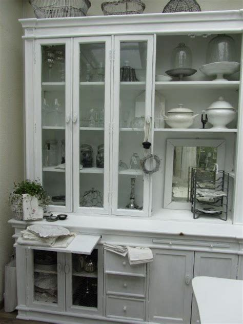 china cabinet hutch dining room white grey black chippy shabby chic whitewashed cottage
