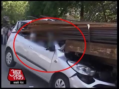 fatal road accident a car banged into a truck loaded