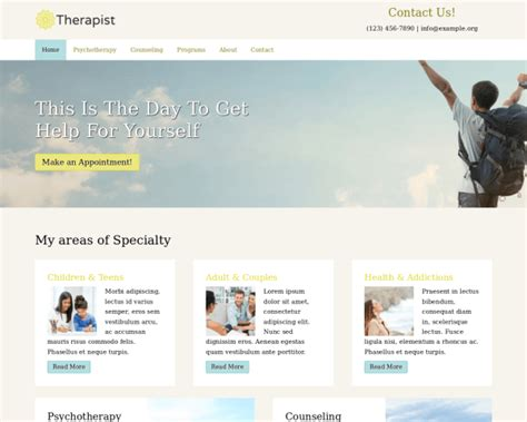 Therapist Wordpress Theme Mobile Theme Therapy Websites Templates