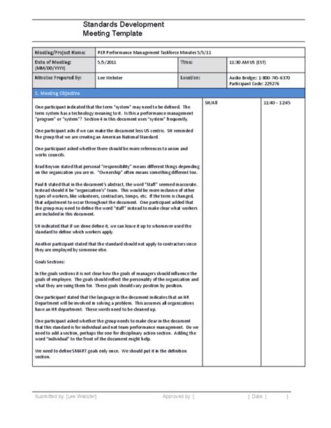 standard minutes of meeting template standards development meeting minutes template free
