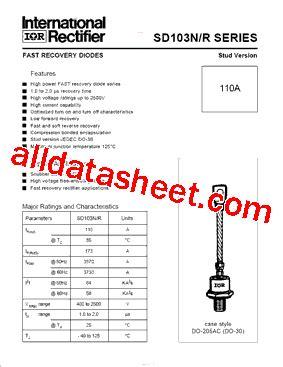 high voltage rectifier diode datasheet sd103r datasheet pdf international rectifier