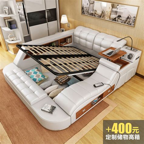 intelligent leather bed tatami bed 1 8 m wedding bed soft and modern simple master