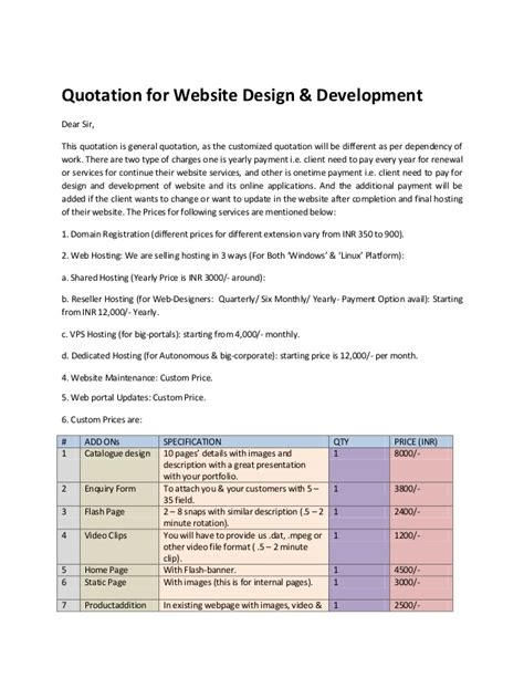 website quotation quotation for website design
