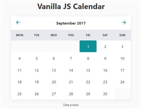 Minimal Inline Calendar Date Picker In Vanilla Javascript Css Script Calendar Template Html Css