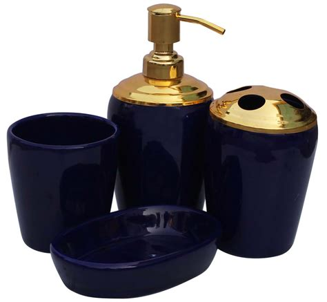 wholesale handmade set of 4 bathroom accessories in cobalt