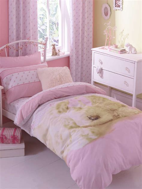 Cot Duvet Cover Sets Girls Pink Polka Dot Cute Puppy Dog Reversible Duvet Cover