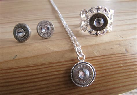9mm bullet jewelry set with earrings necklace and ring with
