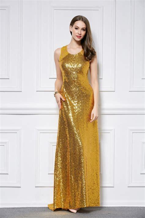 Gold Floor Length Dress by Floor Length Gold Sequined Sleeveless Evening Dress Formal