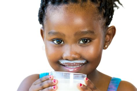 african women with mustache face shot of sweet african girl with milk mustache stock