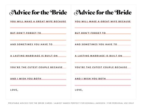 advice for the cards template printable advice for the bridal shower cards