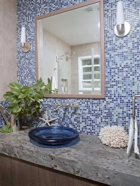 photos hgtv blue bathroom with mosaic glass tile beautiful glass mosaic tile for bathroom wall tiles and