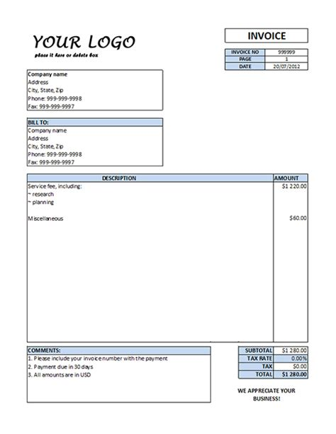 service invoice template free word and clean service invoice template