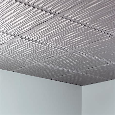 Ceiling Tile by Fasade Ceiling Tile 2x2 Suspended Dunes In Argent Silver