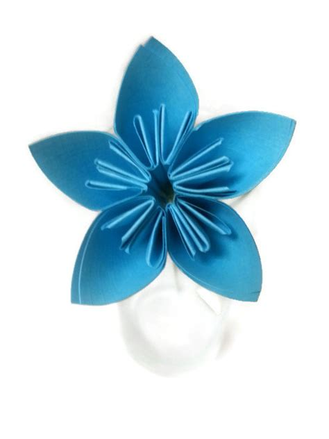 Origami Flower Stem - bright blue kusudama origami paper flower with green wire stem