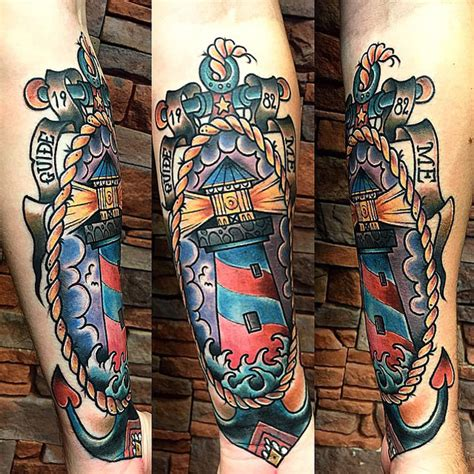 tattoo old school lighthouse old school lighthouse