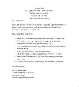 Sample Resume For Java Developer java developer resume template 14 free samples examples format