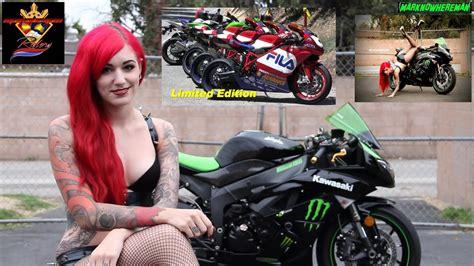 gorgeous woman rides  motorcycle ducati