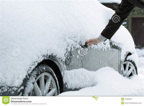 opening a frozen car door royalty free stock photo image