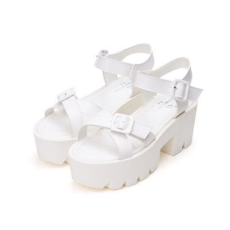 chunky white platform sandals white chunky cross platform buckle sandals