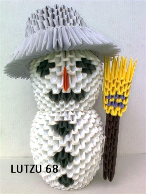 3d Origami Snowman - origami snowman album lutzu 3d origami