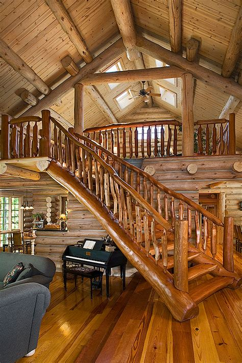 stunning rustic cabin plans loft with wooden staircase a michigan rustic log home with a ski lodge feel