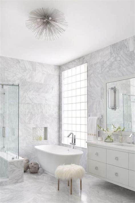 gray marble master bathroom  lucite sputnik flush