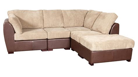 Corner Sofa Leather And Fabric Cord Fabric Faux Leather Corner Sofa Homegenies
