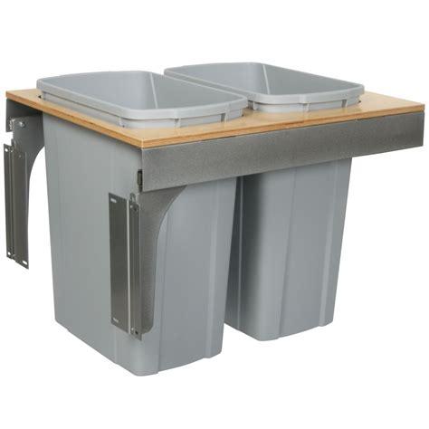 double 35 qt top mount wood pull out trash containers rev knape vogt double slide out waste bin 35 quart lid