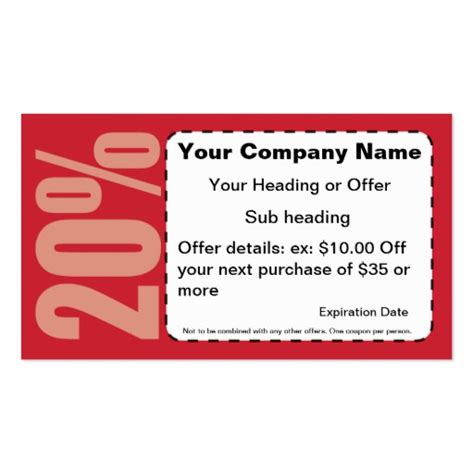 offs card 20 coupon business card zazzle