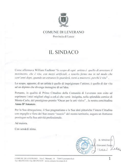 lettere di encomio comune di leverano lettera di congratulazioni