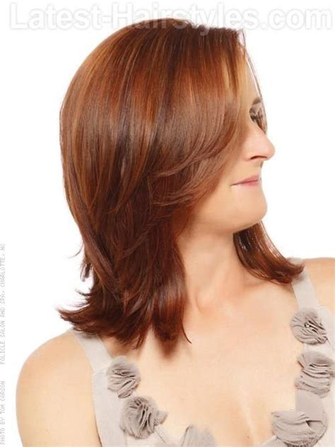 side views layered hair cuts medium reddish style with full layers side view emilee