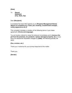 Rent Complaint Letter late notice landlord to tenant hashdoc letter to