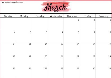 calendar 2018 template free 5 march 2018 calendar printable template source